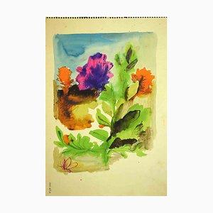 Disegno di Leo Guida, piante e fiori, anni '70