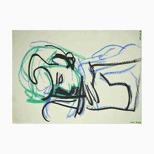Leo Guida, lehnte Akt, Zeichnung, 1970er Jahre ab