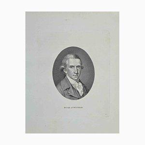 Philip Audinet, Portrait of Duke of Weymar, Etching, 1810