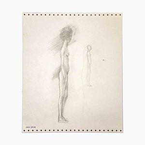 Leo Guida, Stehender Akt, Zeichnung, 1970er