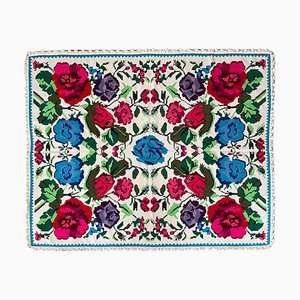 Romanian Handmade Pastel & White Floral Rug