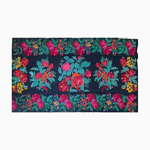 Large Handmade Romanian Rug with Bohemian Floral Design, Red and Pink Roses & Sunflowers