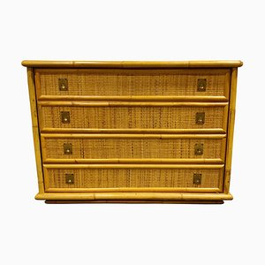 Wicker and Bamboo Chest of Drawers from Dal Vera, 1960s