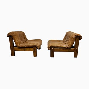 Vintage Leather Lounge Chairs, 1970s, Set of 2