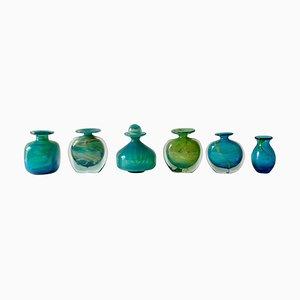 Glasvasen in Türkisblau & Grün von Mdina, 1960er, 6er Set