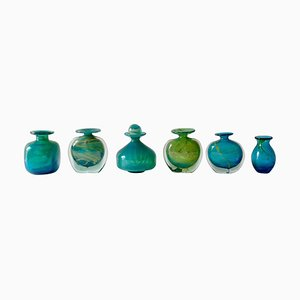 Turquoise Blue and Green Glass Vases from Mdina, 1960s, Set of 6
