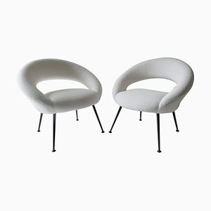 White Lounge Chairs, Germany, 1950s, Set of 2