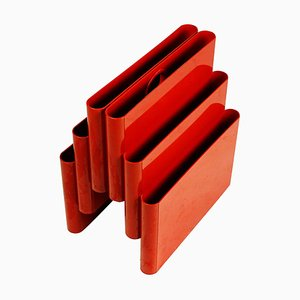 Red Plastic 4675 Magazine Rack by Giotto Stoppino for Kartell, Italy