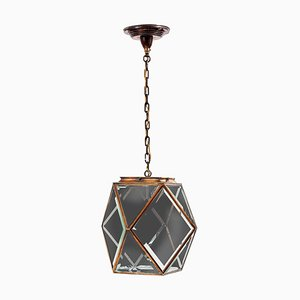 Austrian Art Nouveau Brass and Glass Pendant Lamp in the Manner of Adolf Loos