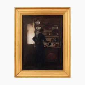 19th-Century Danish Kitchen Interior with Woman