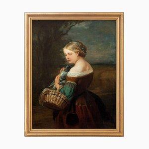 Carl Wagner, Portrait eines Mädchens mit einer Taube