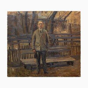 Carl Vilhelm Meyer, The Man at the Bench Study, Öl auf Leinwand