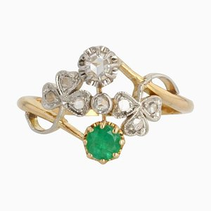 French Emerald Diamond 18 Karat Yellow Gold You and Me Ring, 1900s