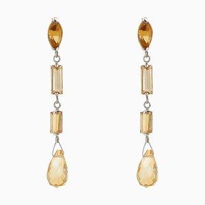 8 Carat Citrine 18 Karat White Gold Dangling Earrings from Baume