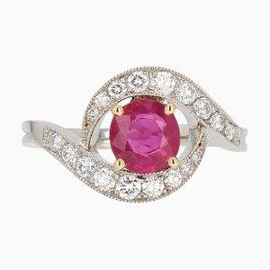 Modern 1.41 Carat Ruby Diamonds 18 Karat White Gold Swirl Ring