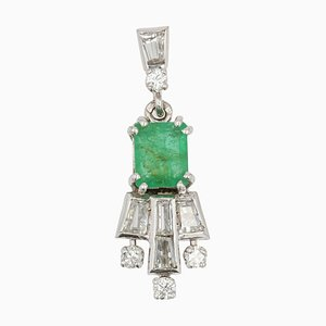 French Emerald Diamonds 18 Karat White Gold Necklace Pendant, 1970s
