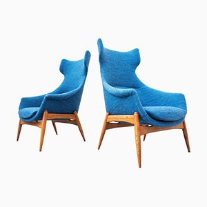 Blue Fabric Armchairs by Julia Gaubek, Hungary, 1950s, Set of 2