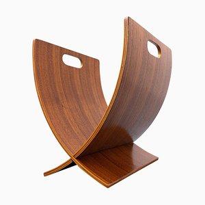 Revistero italiano Mid-Century de madera