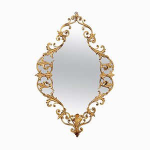 Mid-Century Italian Gilt Wall Mirror Hand-Crafted in Baroque Style, Italy, 1950s
