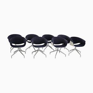 Italian Sina Swivel Chairs in Blue Fabric for B&B Italia, 1999, Set of 8