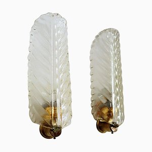 Mid-Century Italian Wall Sconces Leaves in Murano Glass and Brass, 1970s, Set of 2