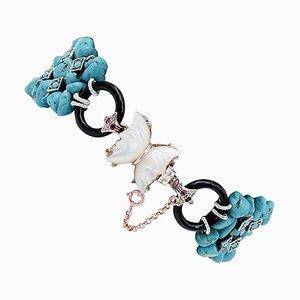 Turquoise, Rubies, Stones & Onyx 9 Karat Rose Gold and Silver Bracelet