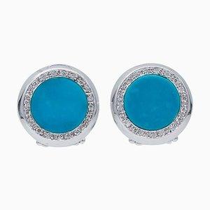 Orecchini a bottone in oro bianco, 18 carati e diamanti, set di 2