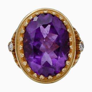 Amethyst, Diamond and 18 Karat Yellow Gold Ring