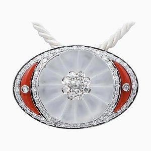 Broche ou pendentif en or blanc 14 carats avec diamants, corail et cristal de roche