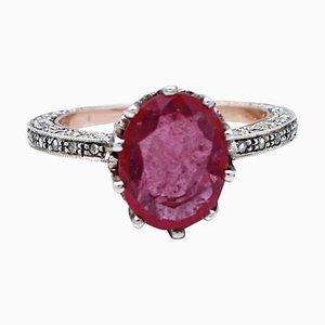 Diamanten & Rubin 14 Karat Roségold und Silber Ring