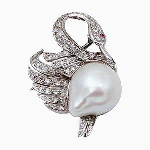 Broche ou pendentif en forme de cygne en or blanc 14 kt, rubis, diamant et perle