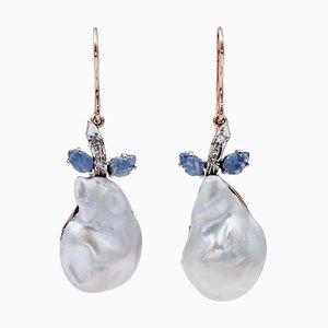 Barocke Perle, Saphirblätter, Diamanten und 14 Karat Rosé- und Weißgold Hängeohrringe, 2er Set