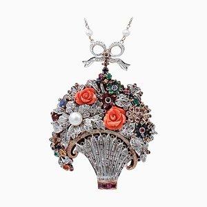 Collier Diamant, Emeraude, Rubis, Saphir, Corail et Perle en Or Rose 9kt et Argent