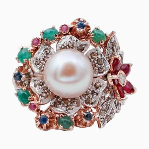 Emeralds, Rubies, Sapphires, Diamonds, Pearl, 9 Karat Rose Gold and Silver Cocktail Ring