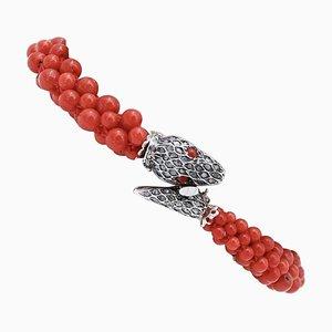 Bracelet Serpent en Corail, Diamants, Or Rose 9 Carats et Argent