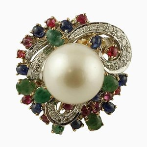 Diamonds, Emeralds, Rubies, Blue Sapphires, Pearl 14K White and Yellow Gold Ring
