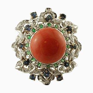 Diamant, Blauer Saphir, Tsavorit & Koralle 14 Karat Weiß- und Roségold Ring