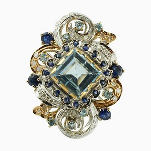 Topaz, Aquamarine & Sapphire 14k White and Rose Gold Ring