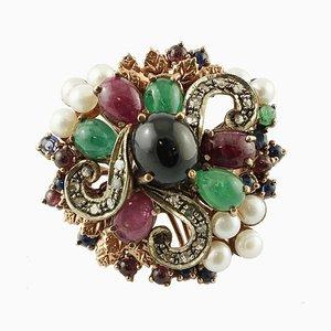 Diamanten, Smaragde, Rubine und Saphire, Perlen, 9 Karat Roségold und Silber Vintage Ring