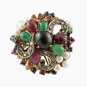 Diamonds, Emeralds, Rubies and Sapphires, Pearls, 9 Karat Rose Gold and Silver Vintage Ring