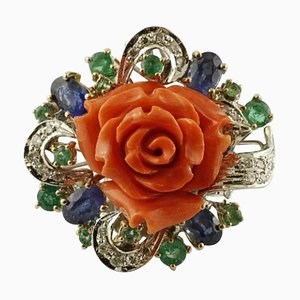 Diamond, Emerald, Blue Sapphire & Coral 14k White Gold Ring