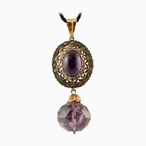 Pendentif Diamant et Améthyste en Or Rose 14k et Argent