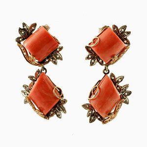 Diamonds, Coral, 9K Rose Gold and Silver Vintage Earrings, Set of 2