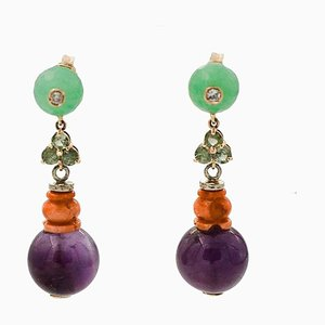 Diamonds, Emeralds, Green Agate, Coral, Amethyst and 14 Karat Gold Drop Earrings, Set of 2