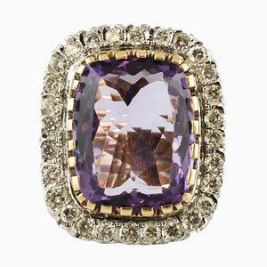 Großer Zentraler Amethyst & Diamant 14 Karat Weiß- und Gelbgold Ring