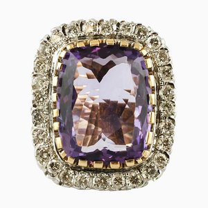 Large Central Amethyst & Diamond 14k White and Yellow Gold Ring