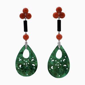 Hängende Ohrringe aus 14 Karat Weißgold mit Diamanten, Onyx und Grünem Achat, 2er Set