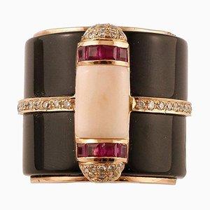 Onyx, Ruby, Diamond & Pink Coral 14k Yellow Gold Ring