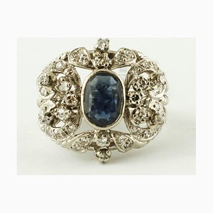 Central Blue Sapphire, Diamond and 12K White Gold Vintage Ring