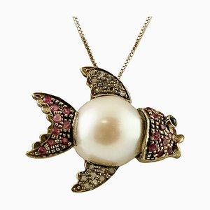 Pendentif Poisson en Or Rose 9k et Argent avec Perle des Mers du Sud, Diamant et Rubis